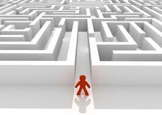 The man has to go through a complicated maze.