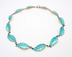 """Designer: Bernard Meldahl. Material: Enamel Finish. Hallmarks: Made in Norway Sterling 925 S """"B"""" over """"M"""". Country of Origin: Norway. Metal: Sterling (.925) Silver. This classic necklace is pre owned and has minor signs of wear, but as you can see on the photos it is in very good, ready to wear or highly collectible shape. 