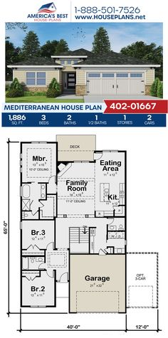 Plan 402-01667 delivers a 1-story Mediterranean home offering 1,886 sq. ft., 3 bedrooms, 2.5 bathrooms, a breakfast nook, a kitchen island, an open floor plan, and a home office. #mediterraneanstyle #onestoryhome #architecture #houseplans #housedesign #homedesign #homedesigns #architecturalplans #newconstruction #floorplans #dreamhome #dreamhouseplans #abhouseplans #besthouseplans #newhome #newhouse #homesweethome #buildingahome #buildahome #residentialplans #residentialhome Mediterranean House Plans, Mediterranean Style, Best House Plans, Dream House Plans, Construction Drawings, Building Plans, Building A House, Floor Plan Drawing