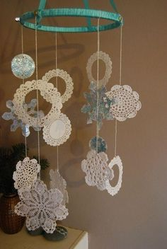 doily mobile - diane could make this using different designs ♥
