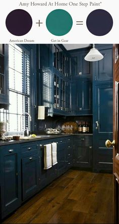 Kitchen Cabinets -www.amyhowardathome.com - Mixing colors of Amy Howard One Step Paint in American Dream and Get in Gear