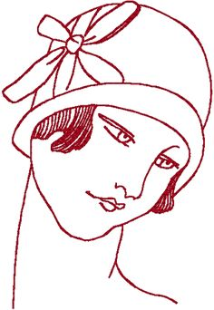 Redwork Flapper #2 Embroidery Design