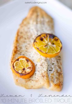10 minute meyer lemon and lavender broiled trout is a delicious, easy and fresh preparation that you can cook with no fishy taste or smell. Free Keto Recipes, Fun Easy Recipes, Irish Recipes, Easy Meals, Primal Recipes, Paleo Meals, Seafood Dishes, Seafood Recipes, Cooking Recipes