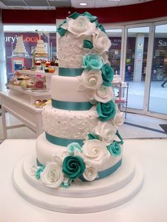 Gorgeous cake from the Cake Shop Liverpool. Wedding Cake Red, Country Wedding Cakes, Aqua Wedding, Amazing Wedding Cakes, Elegant Wedding Cakes, Wedding Cakes With Flowers, Wedding Cake Designs, Wedding Colors, Tiffany Wedding