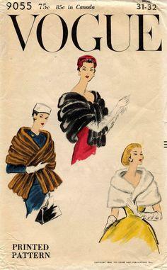 1950's VTG VOGUE Fur Cape and Stole Pattern 9055 Small UNCUT FF
