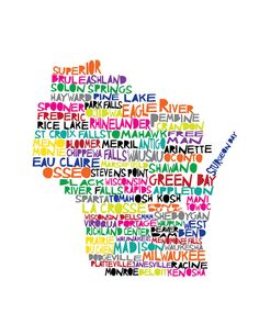 WISCONSIN Digital illustration Print of Wisconsin by mollymattin, $15.00