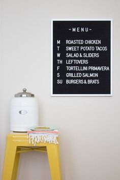 We love this kitschy cute menu board for its sweet vintage feel. And this diner-style menu board to your list of dream kitchen decoration ideas! Felt Letter Board, Felt Letters, Black Letter Board, Menu Board Design, Best Kitchen Design, Word Board, Board Art, Dinner Party Menu, Menu Boards