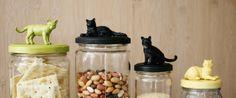 Des animaux sur les couvercles de pots de cuisine