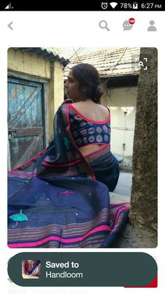 Blue and pink saree, love the blouse! Indian Attire, Indian Wear, Indian Outfits, Indian Dresses, Beautiful Blouses, Beautiful Saree, Ethnic Fashion, Indian Fashion, Indian Look