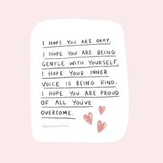 Good morning gang 💖 'I hope your inner voice is being kind' 💖  Motivacional Quotes, Cute Quotes, Words Quotes, Sayings, Pink Quotes, Reminder Quotes, Self Reminder, Cheer Up Quotes, Affirmations