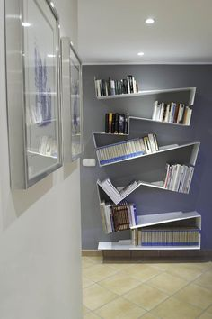 Hanging Bookshelves, Unique Bookshelves, Bookcase, Dream Library, Interiores Design, Zig Zag, Things That Bounce, Shelving, Stuff To Buy