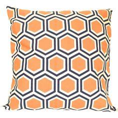 Navy and orange pillow