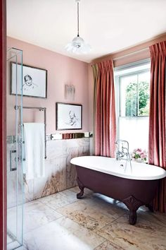 Henrietta Courtauld The Land Gardeners London Home remodelling remodelled by Retrouvius   House & Garden Pink Walls, White Walls, Cute Wall Decor, London House, Georgian Homes, Small Bathroom, Bathroom Ideas, Peach Bathroom, Bathroom Inspo