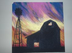 Barn Silhouette Acrylic Painting by FabulousFixations on Etsy, $35.00
