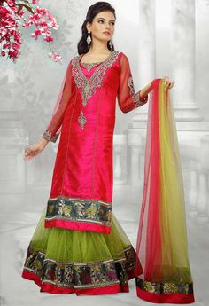 USD 442.72 Pink and Green Net Designer Party Wear Lehenga Choli 30201