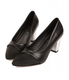 #Vintage #Black #Leather #Pointed #Mesh #Toe #Metallic #Heels #CourtShoes #Womens #Shoes £32.99 @ ShanghaiTrends.co.uk