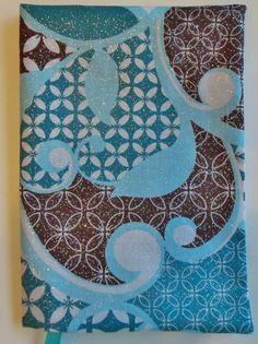 FABRIC Paperback Book Cover Standard Paperback Book SWIRLS AND SPARKLES AQUA #HandmadebyMe