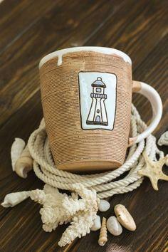 """Керамическая чашка """"Морская"""". Ручная работа. crafta.ua/ #craftaua #handmade #ceramics #dishes #чашка #cup #tea #посуда #глина #керамика #авторскаякерамика #ручнаяработа"""