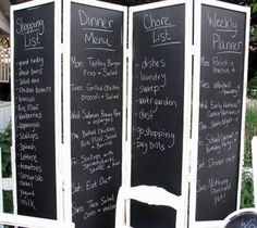 Chalkboard Room Divider, would change to whiteboard & Photos.