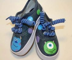 Monsters Inc inspired Sulley and Mike hand painted denim shoes with or without sparkles n dots for boys - girls infant -toddler shoes. $27.00, via Etsy.