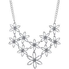 1928 Jewelry Silver-Tone Flower Bib Necklace ($32) ❤ liked on Polyvore featuring jewelry, necklaces, blossom jewelry, metal bib necklace, silvertone jewelry, metal necklace and silvertone necklace