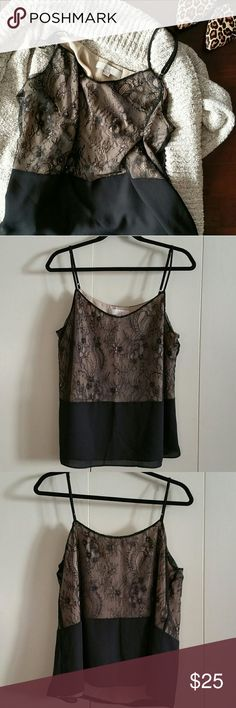 """NWOT LOFT Black Lace Camisole New Without Tags. This gorgeous camisole from LOFT is the perfect top to throw under cozy cardigans this fall! Fully lined. Adjustable straps. Bust is 43"""", length is 24""""-27"""" depending on straps, the hem around the bottom is 50"""". No defects on top. LOFT Tops Camisoles"""