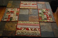 reversible quilted placemats autumn themed set of by alisonquilts, $36.00