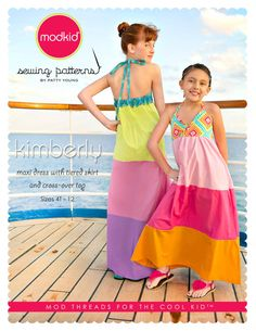 fairytale frocks and lollipops :: modkid, patty young, kimberly maxi dress, girls, tween, big girl, summer, spring, fall, full-length, floor length, long dress, panel, nightgown, gown, special occasion, beach, pool, swimsuit cover, cover-up, halter, tie,