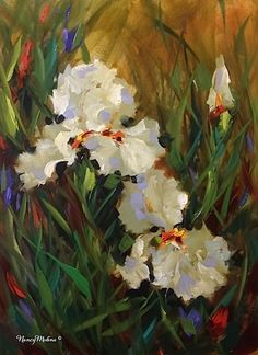 Friends Forever White Irises and a France Flower Painting Workshop - Nancy Medina Art, painting by artist Nancy Medina