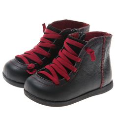 LITTLE BLUE LAMB Toddler Shoes Boots black red Leather New