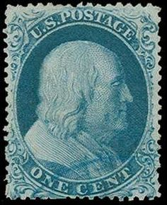 """United States 1857-61 Issue, Scott 19b 1c Blue, Type Ic, light blue town cancel at bottom, position 91R4, """"F"""" relief, which Scott notes as best position as assigns a premium to the value, thin and a few shorter perfs at bottom, photocopy of 2011 Weiss certificate for vertical pair, ex Wagshal (Scott $7,500 without premium for blue cancel)"""