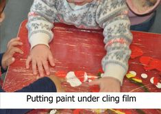 Place the paint on the table and cover with cling film. Great mark making activity as well as sensory Nursery Activities, Activities To Do, Children Activities, Literacy Skills, Early Literacy, Eyfs Classroom, Diy Shops, Physical Development, Learning To Write
