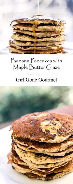 Banana pancakes with a decadent maple butter glaze | girlgonegourmet.com