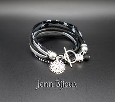 Bracelet cuir et liberty étoile métal argenté et noir, cuir plat, biais liberty étoile, suédine strass, breloque,
