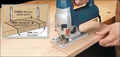 Tips and Tricks for Using a Jig Saw: Cut a Notch along an Edge. Sometimes, you may need to cut a notch along the edge of a workpiece rather than at the corner. Start by making straight cuts to create the ends of the notch (sometimes called shoulders). Next, make a sweeping cut from the edge toward one corner of the notch. Finally, cut the remaining waste out with a straight cut along the back toward the other corner.