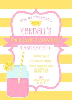 pink lemonade birthday invitation pink lemonade invitation summer birthday invitation lemonade invite sunshine and lemonade