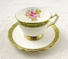 Aynsley Tea Cup and Saucer with Pink Rose and Green and Gold Border, Vintage Tea Cup, Bone China