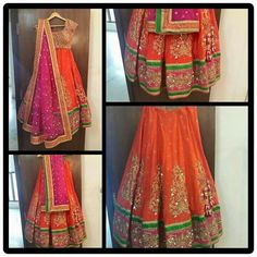 Orange pink N green lehnga