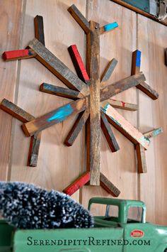 Serendipity Refined: Rustic Vintage Ski Lodge Christmas Mantel - Reclaimed wood snowflake
