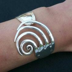 Bracelet fourchette, articulé, forme des dents escargot ,mode, bijoux original, uni