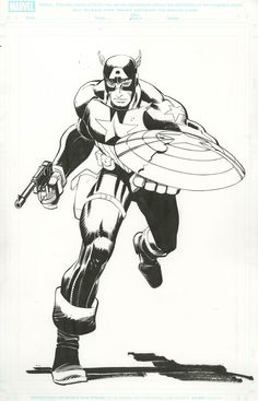 Marvel relaunched The Avengers in May 2010 with a fantastic array of gatefold variant covers featuring pencils by John Romita, Jr. and inks by Klaus Janson. These six pieces of original art are part of the ongoing ComicLink Spring 2015 Featured Auction. Comic Book Artists, Comic Book Heroes, Comic Books Art, Comic Art, Dc Comics Art, Marvel Comics, John Romita Jr, Jr Art, Black White Art