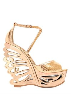 150MM PYTHON EMBOSSED BUTTERFLY WEDGE
