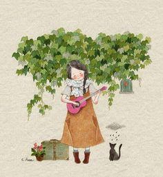 Loving kindness (S Hee) Art And Illustration, Korean Artist, Cute Images, Cat Art, Art Girl, Watercolor Paintings, Art Drawings, Anime Art, Poster