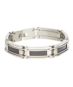 Another great find on #zulily! Stainless Steel & Carbon Fiber Bracelet #zulilyfinds