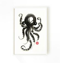 Octopus print • Black and white wall art • Bathroom print • Nautical artwork  This is an art print of my original watercolor painting - Octopus.  Make