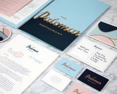 Palomar restaurant identity - navy, peach and blue - classic and luxurious swirls