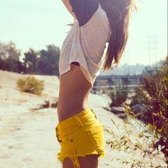 Mustard yellow shorts Frayed super comfy Shorts Jean Shorts