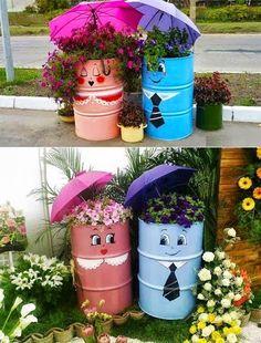 Compartimos una idea #DIY para reciclar antiguos bidones convirtiendolos en unos originales y decorativos maceteros.