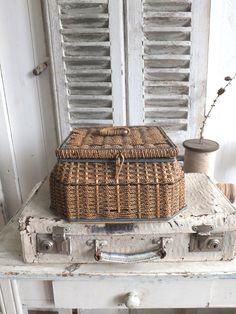 Wicker Picnic Basket, Rattan Basket, Vintage Baskets, Vintage Suitcases, Sewing Baskets, Storage Baskets, Sisal, Old Wicker, Bountiful Baskets