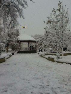 El kiosco de la plaza un invierno buena nevada!